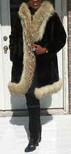 Unique classy  brown sheared lamb & Coyote Fur coat jacket stroller bolero S 2-9