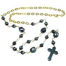 Hematite Cross Rosary Necklace - UK Seller