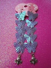 Purple Prism Sequin Butterfly and Bee Long Earrings  3 1/2 Inches Long USA
