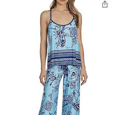 NWT In Bloom By Jonquil Pajama Top Medium Blue Paisley