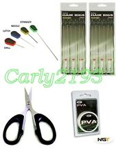 CARP FISHING 12 HAIR RIG KIT - BRAID BLADES - PVA STRING - BAITING NEEDLE SET