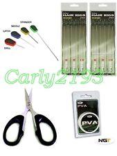 Cardine carpa 12 Hair Rig Kit-TRECCIA LAME-PVA STRING-set da esca ago