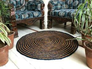 Rug Jute & Cotton Round Natural Braided Style Reversible Modern Rustic Look Rugs