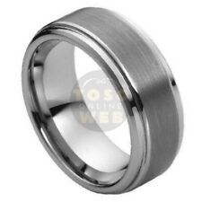 Men's 8mm Stepped Low Beveled Edge Tungsten Ring w/ Brushed Center Ring TS1620