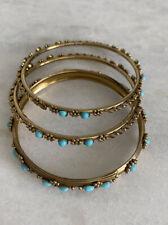 Set of 3 Bollywood Bangle Bracelets Gold Tone with Inlaid enamel