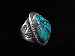 Vintage Navajo Ring - Sterling Silver and Turquoise - Large