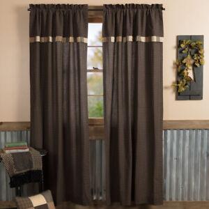 "VHC Brands Primitive 84""x40"" Panel Pair Tan Rod Pocket Patchwork Window Curtains"