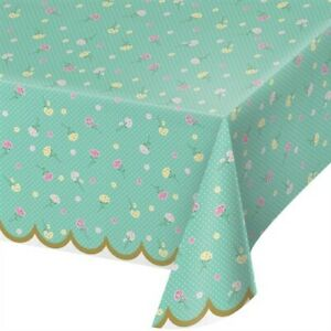 """Floral Tea Party Plastic Banquet Tablecloth 54"""" x 102"""" Birthday Party Tableware"""