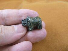 (Y-Rhi-524) green black Rhinoceros I love little Rhino Rhinos gemstone Figurine