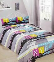 SUMMER DESIGN BROOKLYN BRIDGE DUVET COVER WITH PILLOW CASES BEDDING IN ALL SIZES