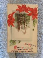 Vintage Postcard New Year Greeting Poem, Snow Woods Scene, Poinsettias