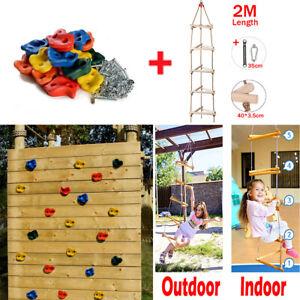 Kids Climbing Stones Rocks&Wooden Rope Ladder Climbing Frame Outdoor Garden Toy