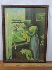 WWI era framed poster print A Woman's Sacrifice painted faux wood frame