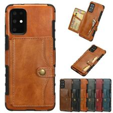 For Samsung S20+ Ultra S10 Note10 Plus Leather Cards Wallet Back Flip Case Cover
