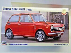"""Hasegawa 1:24 Scale Honda N360 (Nll) 1969 """"Scamp"""" Model Kit - New - # 21121.3000"""