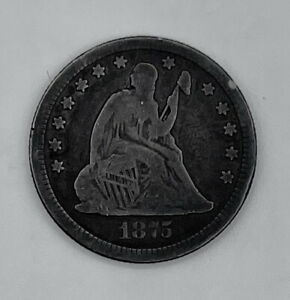 1875-CC Seated 25c (Carson City Quarter) Good Condition