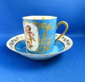 ANTIQUE 19THC SEVRES CHATEAU DES TUILERIES COFFEE CAN & SAUCER-CELESTE BLUE
