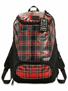 STEVE MADDEN Women's Red Faux Leather Plaid Adjustable Strap Backpack