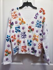Womens White  Floral Large Retro Embroidered Cardigan Sweater