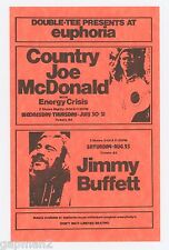 "Jimmy Buffett Country Joe McDonald 1975 Double-Tee Oregon 5""x 8"" orange Handbill"
