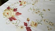 "Antique French Linen Hand Embroidered Tablecloth 100"" x 64"""