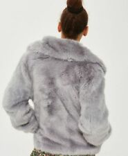 TOPSHOP BLOGGERS FAVE GREY SOFT LUXE CLAIRE Glossy FAUX FUR SHORT WINTER COAT 8