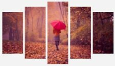 Red Umbrella Forest Girl Women Trees Wall Art 5 Split Panel Canvas Pictures
