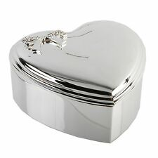 Jewellery Box Heart Silver Plated. Edged Border 3D Crystal Stud Bow Engraved FOC