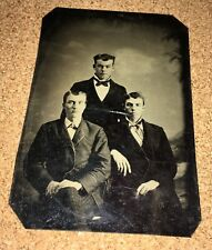 1/6 plate tintype photo three young men friends, students, brothers
