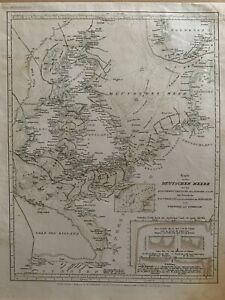1852 CHART OF THE NORTH SEA ANTIQUE HAND COLOURED MAP BY JOSEPH MEYER
