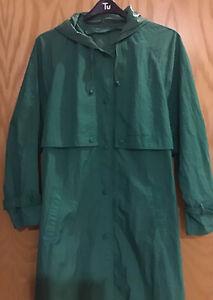 Vintage 100% Nylon Dannimac Ladies Long Kermit Green Trench Coat Size L Rusl