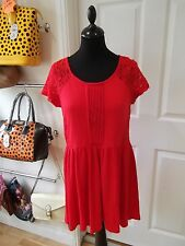 Red Skater Dress by H&M Short/Mini with Sheer Lace/Zip Back & Panels Size Large