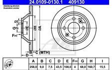 2x ATE Discos de Freno Traseros Pleno 258mm 24.0109-0130.1