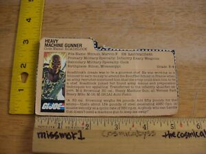 Heavy Machine Gunner ROADBLOCK figure CARD ONLY! cut out dossier GI Joe 1984