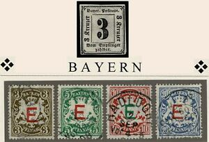 BAYERN P1 (*) + D1/4 °  = BAVARIA Scott #J1mng + O1-4u = BAVIERE Yvert T1 + S1-4