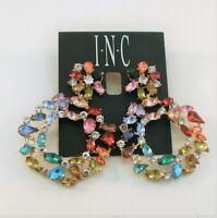INC gold tone multi color rhinestone hoop dangle earrings