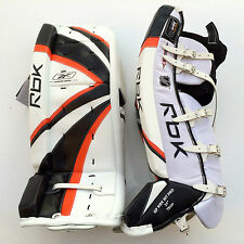 Reebok Premier Pro hockey goalie leg pads intermediate 31 orange black new goal