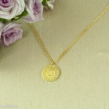 N5 Dainty Gold Plated Good Luck Clover Horseshoe Pendant Necklace - Gift boxed