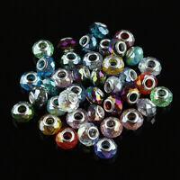 10pcs Crystal Glass Rondelle Big Hole Silver Charm European Beads Fit Bracelet