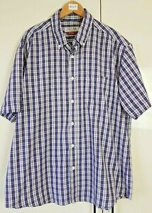 Men's Shirt Size XL Blue Check Purple Short Sleeve Casual Summer by TU