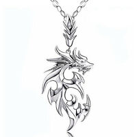 Fashion Men's Silver Stainless Steel Dragon Pendant Leather Chain Necklace Gift'