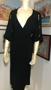 Roland Mouret 10 Black Silk Wrap Dress. As New - Never Worn