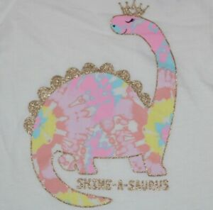 The Children's Place Shine-A-Saurus Baby Girl White long Sleeve T-Shirt Size 2T