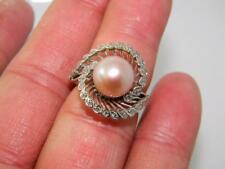 Sumptuous !!! 14K White Gold Big Ring 10mm AAA South Sea Pearl & Diamonds, sz 7