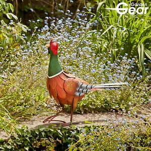 Garden Gear Metal 43cm Pheasant Animal Ornament Outdoor Patio Decor Sculpture