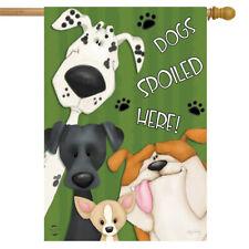 "Spoiled Dogs House Flag Pets Bulldog Dalmation 28"" x 40"" Briarwood Lane"