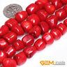 "Red Coral Gemstone Freeform Column Tube Beads For Jewelry Making Strand 15"" YB"