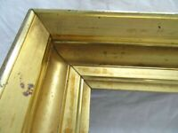 BIG ANTIQUE FIT 13 X 27 LEMON GOLD GILT PICTURE FRAME WOOD FINE ART COUNTRY 1850