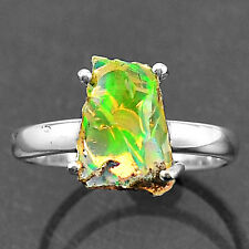 Natural Ethiopian Opal Rough 925 Sterling Silver Ring Jewelry s.7 SDR9112