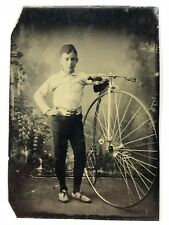 CDV Sized Tintype Photograph. Racing Cyclist High Wheel Penny Farthing Bicycle
